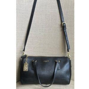 COACH Black Leather Convertible Satchel Crossbody